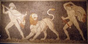 mosaik alexander der große von makedonien im kampf gegen löwe © flickr / miriam.mollerus