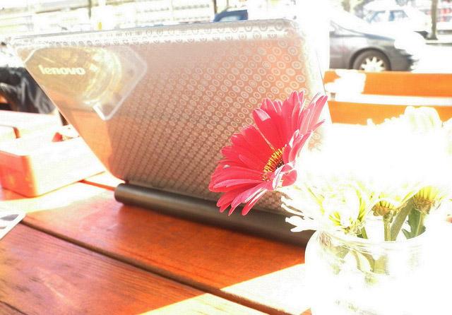 laptop mit blumen